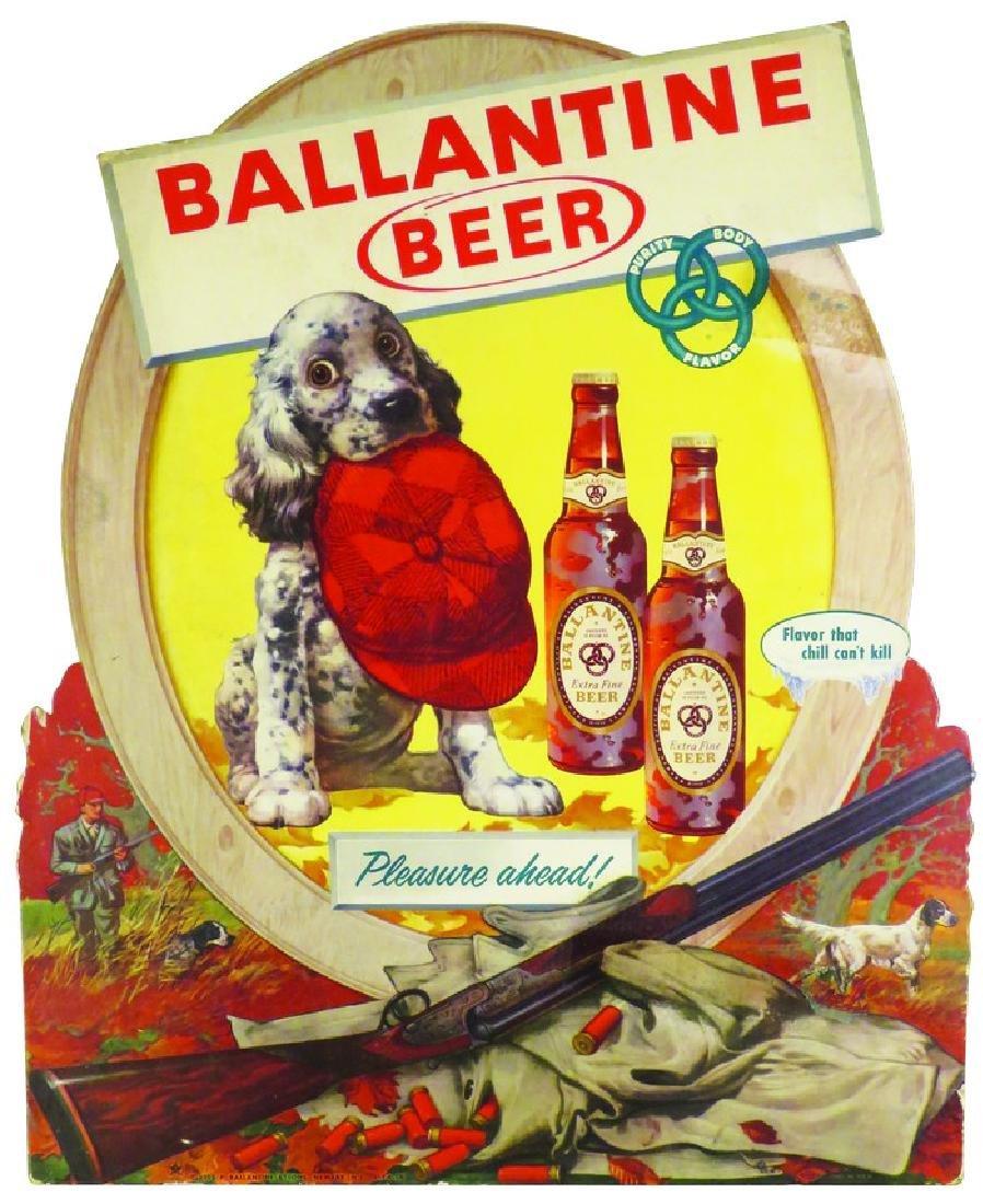 1952 Ballantine Beer Die Cut Cardboard Sign