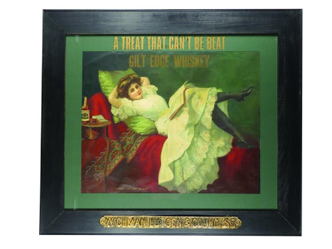 "Gilt Edge Whiskey ""Treat That Can't Be Beat"" Sign"