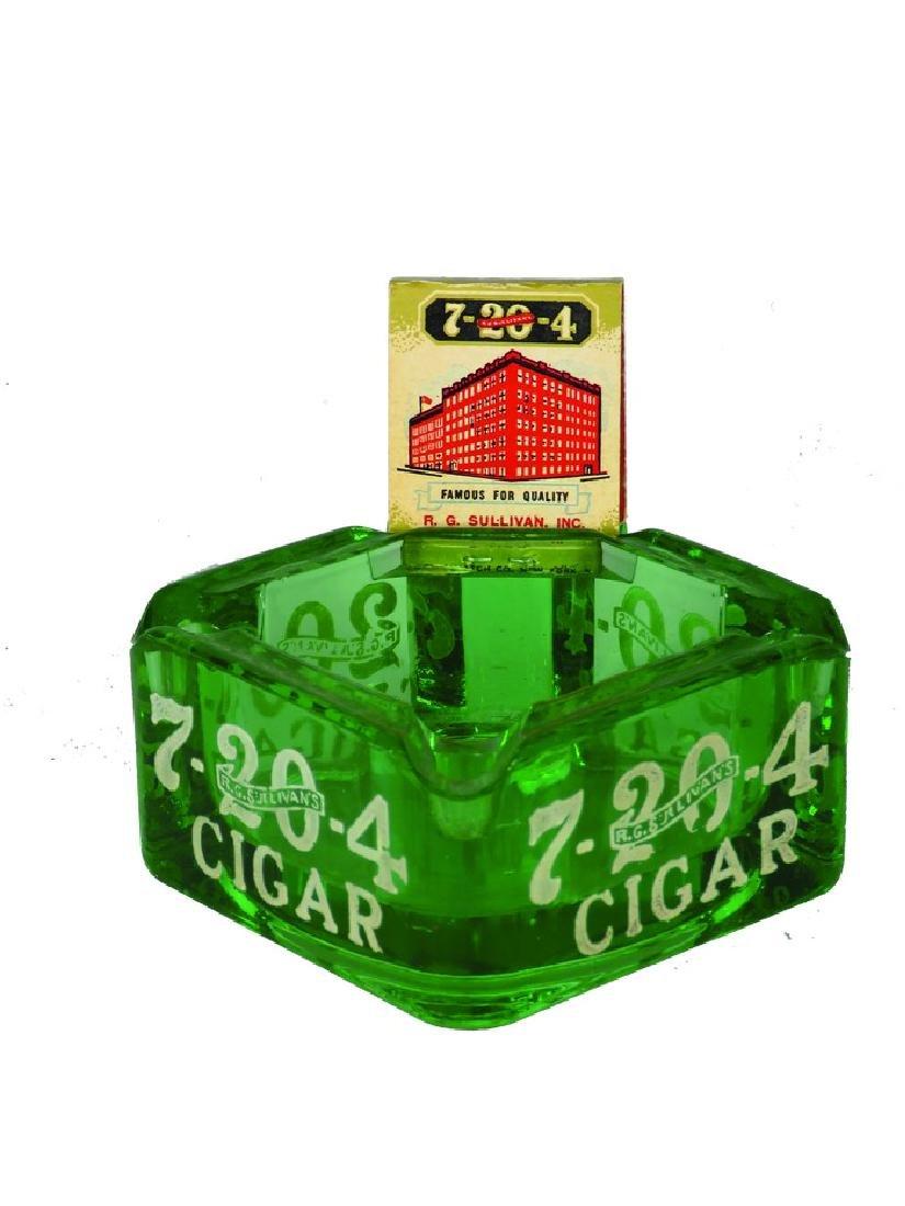 R.G. Sullivan's 7-20-4 Cigars Glass Ashtray