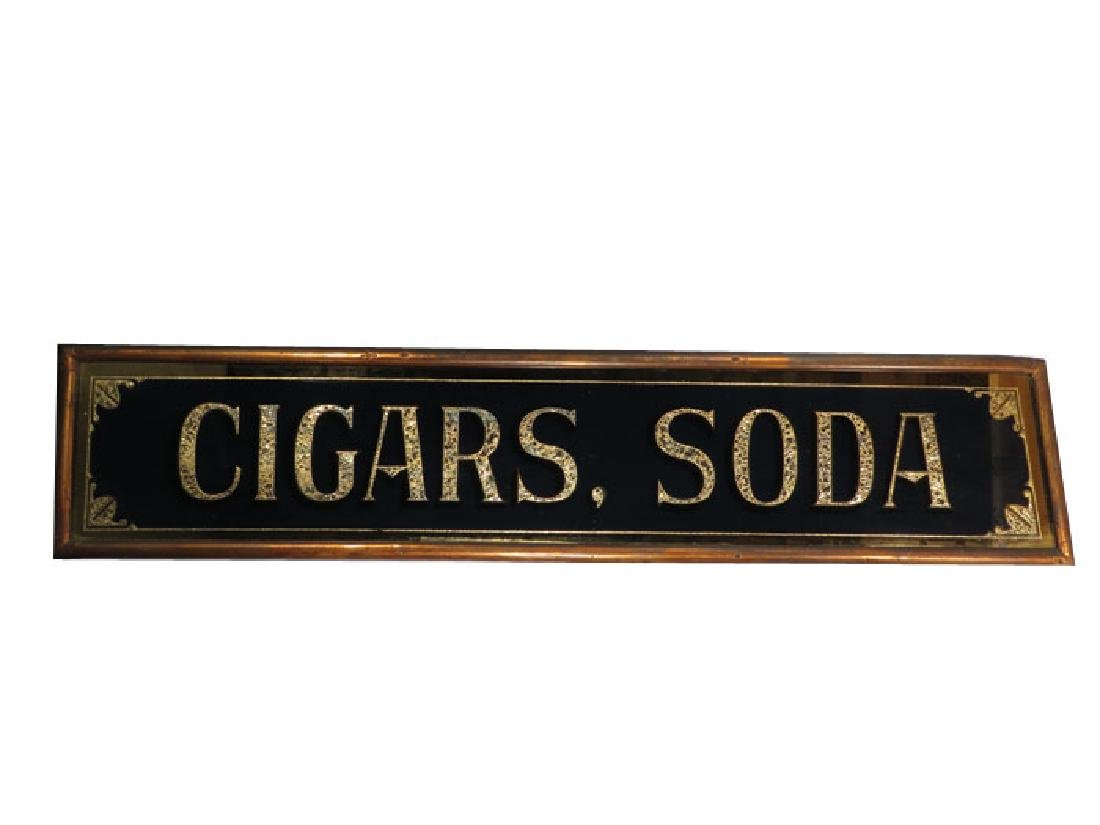 Soda and Cigars Reverse Glass Sign