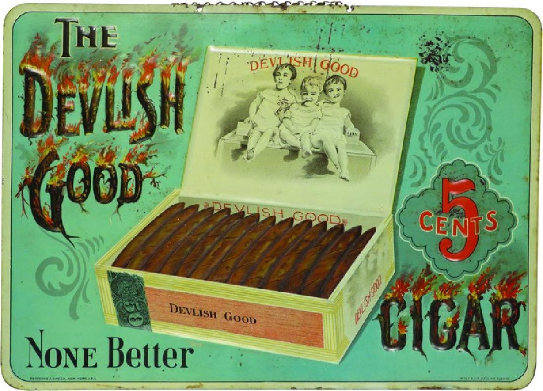 The Devilish Good Cigar Embossed Tin Sign