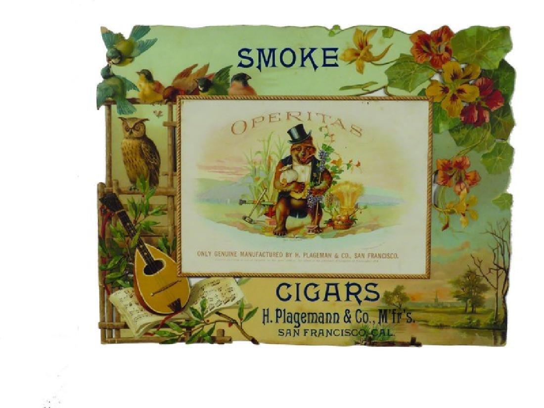 Operitas Cigars Embossed Die Cut Cardboard Sign