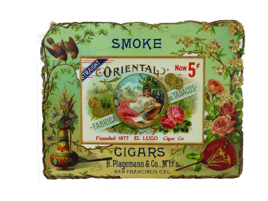 Oriental Cigars Embossed Die Cut Cardboard Sign