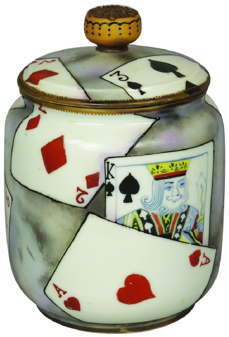 Nippon Hand Painted Porcelain Tobacco Humidor