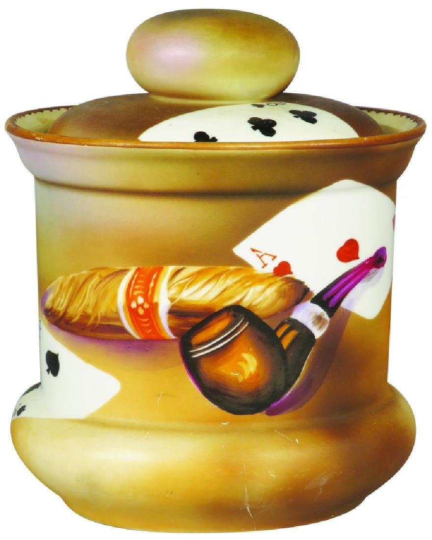 Porcelain Card Motif Tobacco Humidor