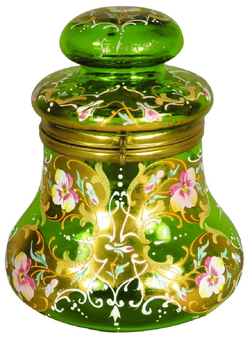 Green Glass Hand Painted Humidor