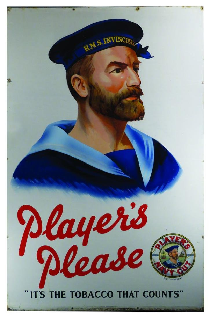 "Player's ""Please"" Navy Cut Tobacco Porcelain Sign"