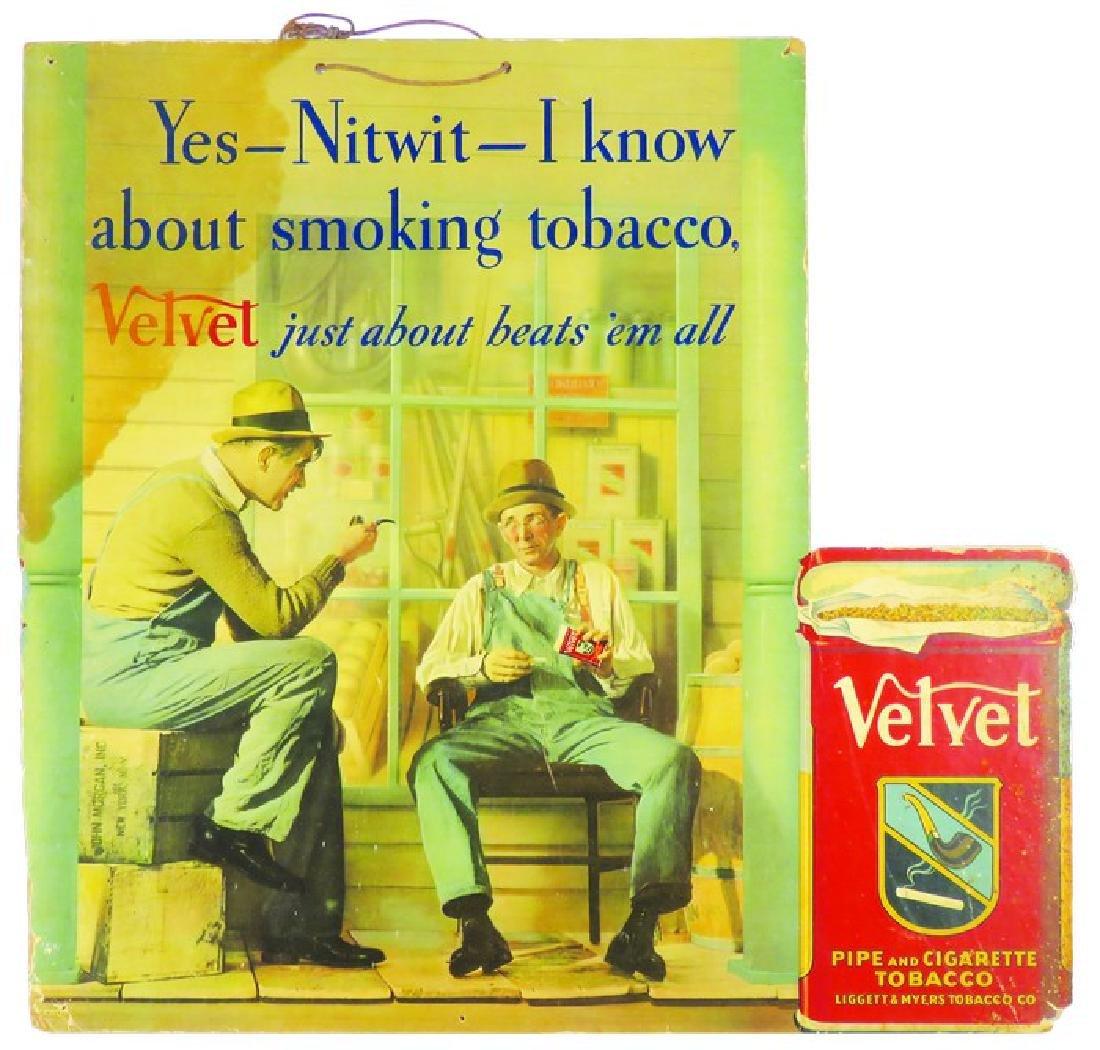 Velvet Tobacco Die Cut String Hanging Sign