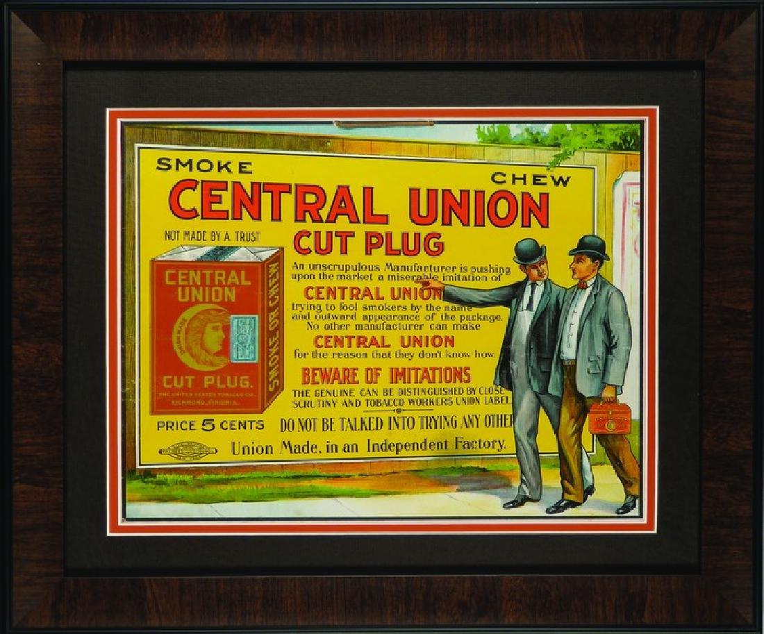 Central Union Cut Plug Tobacco String Hanging Sign