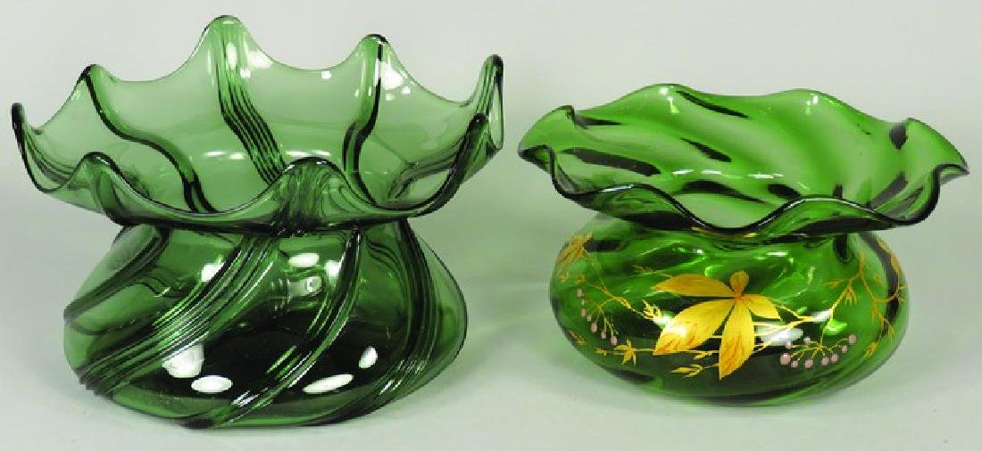 Two Antique Green Glass Spittoons