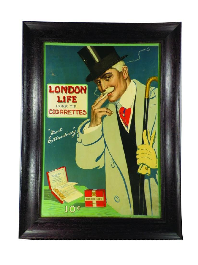 London Life Cork Tip Cigarettes Cardboard Sign