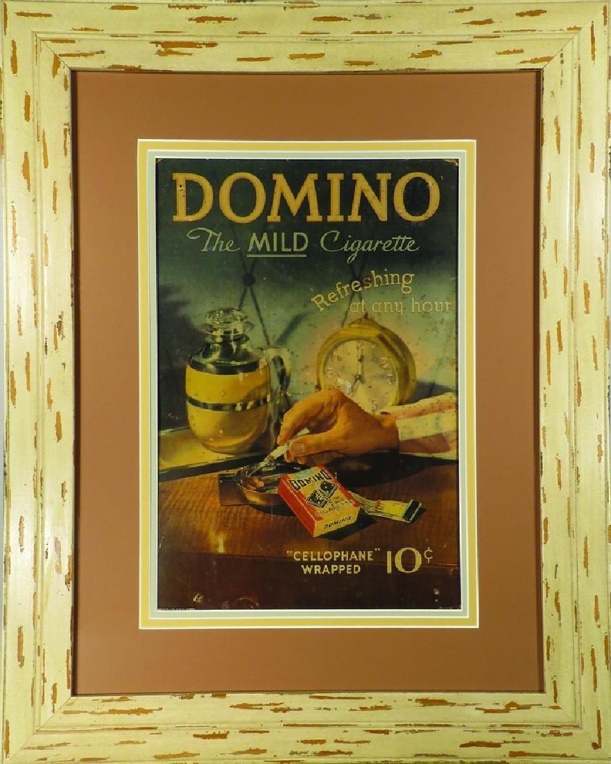 Domino Cigarettes Cardboard Sign