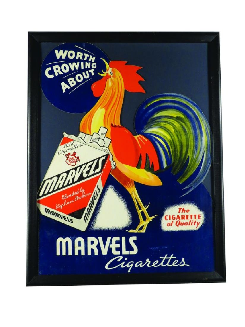 Marvels Cigarettes Die Cut Cardboard Sign