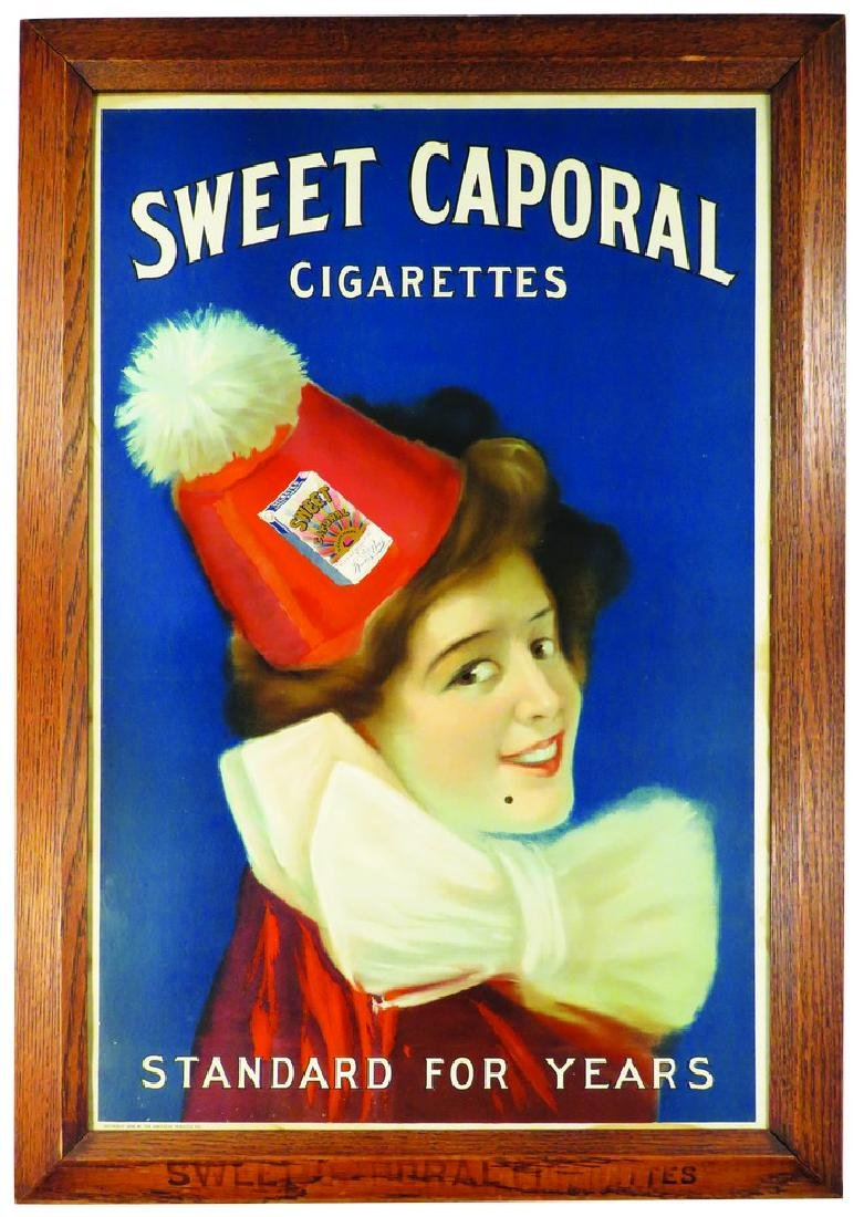 Sweet Caporal Cigarettes Sign in Original Frame