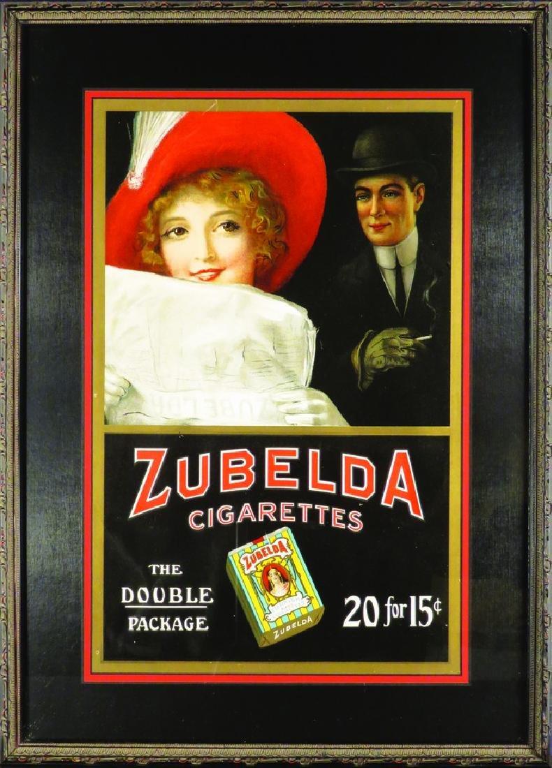 Zubelda Cigarettes Cardboard Sign