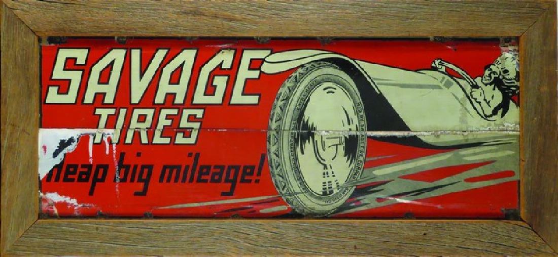 Savage Tires Tin Sign