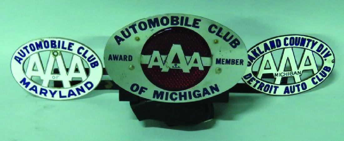 Three Automobile Club Badges and Topper