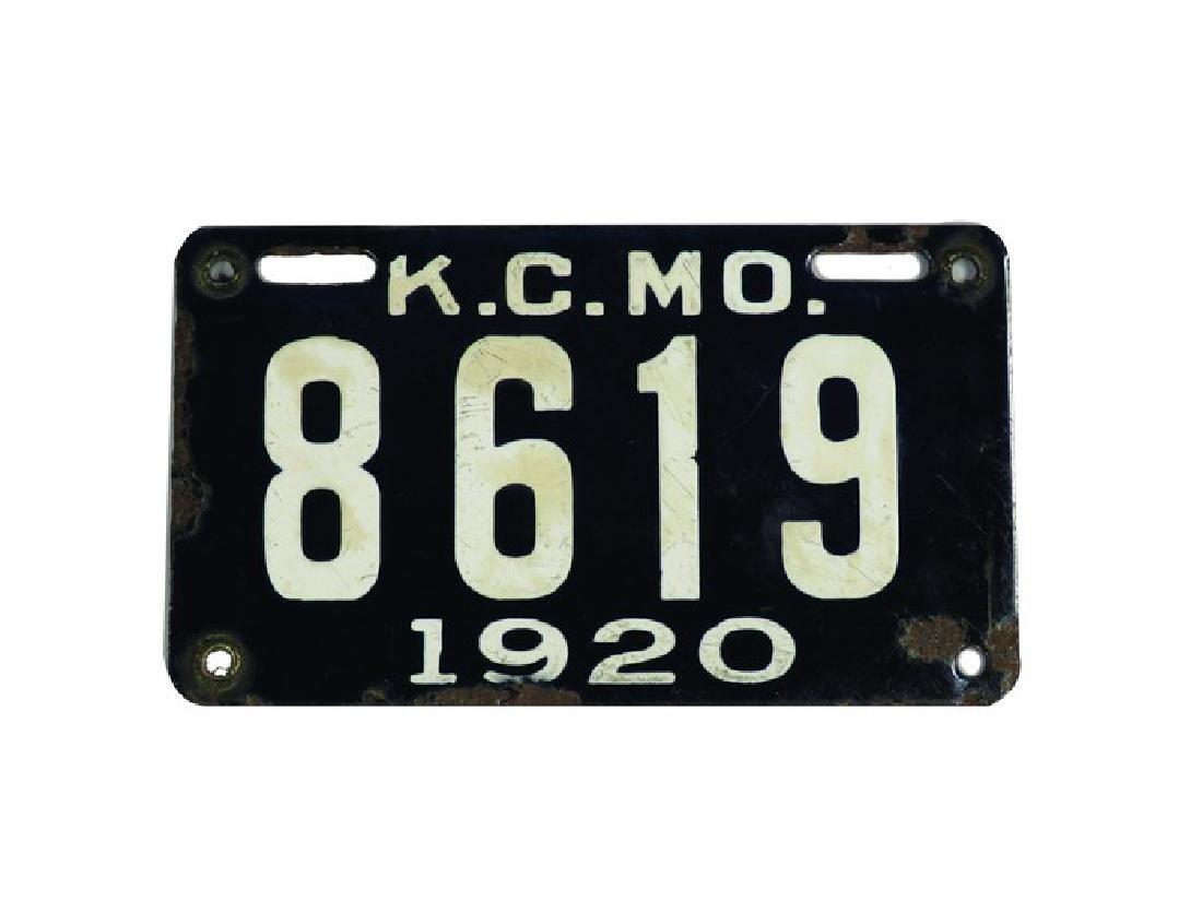 1920 Kansas City, MO. Porcelain Motorcycle Tag
