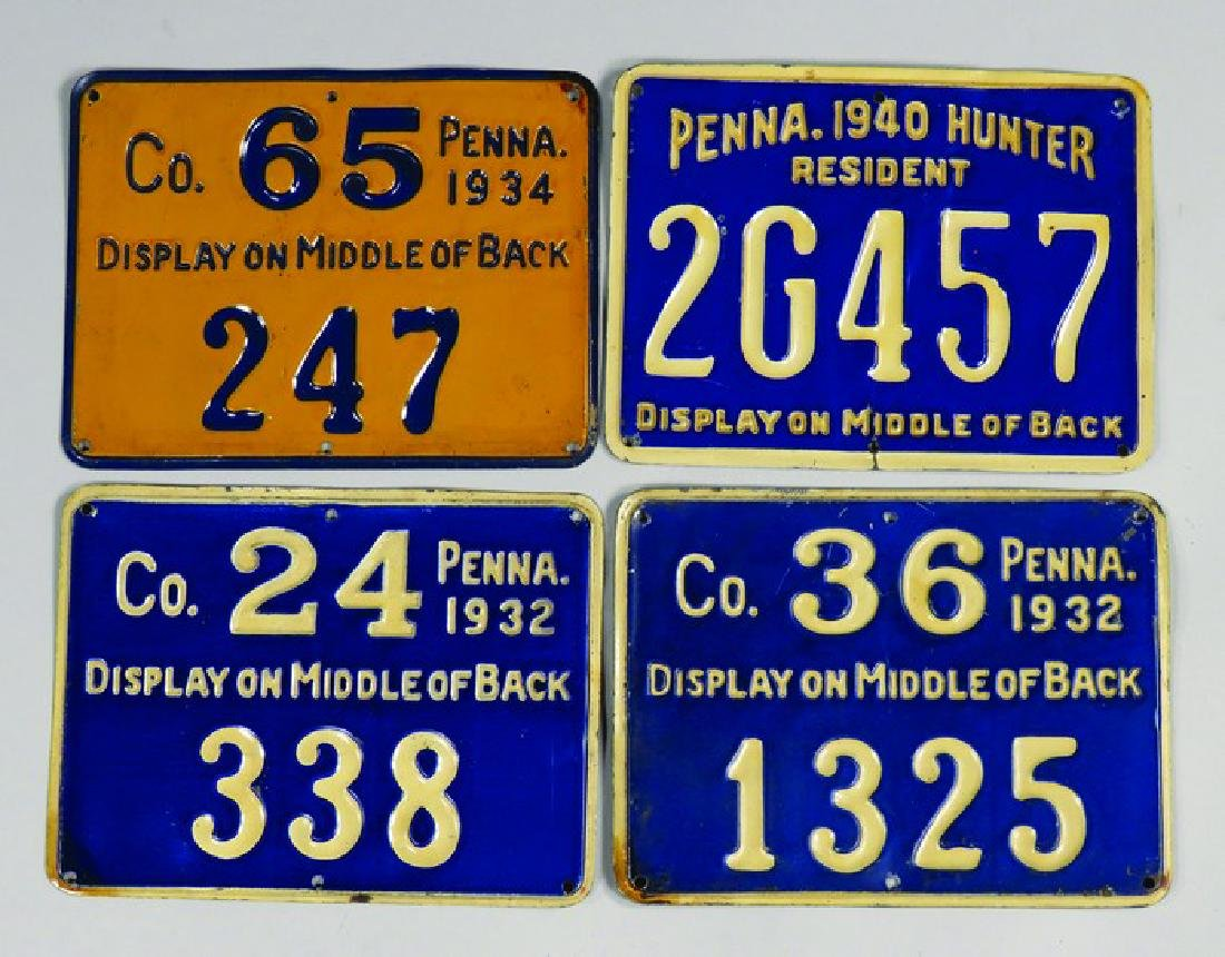 4 Pennsylvania Embossed Tin Hunting License Tags