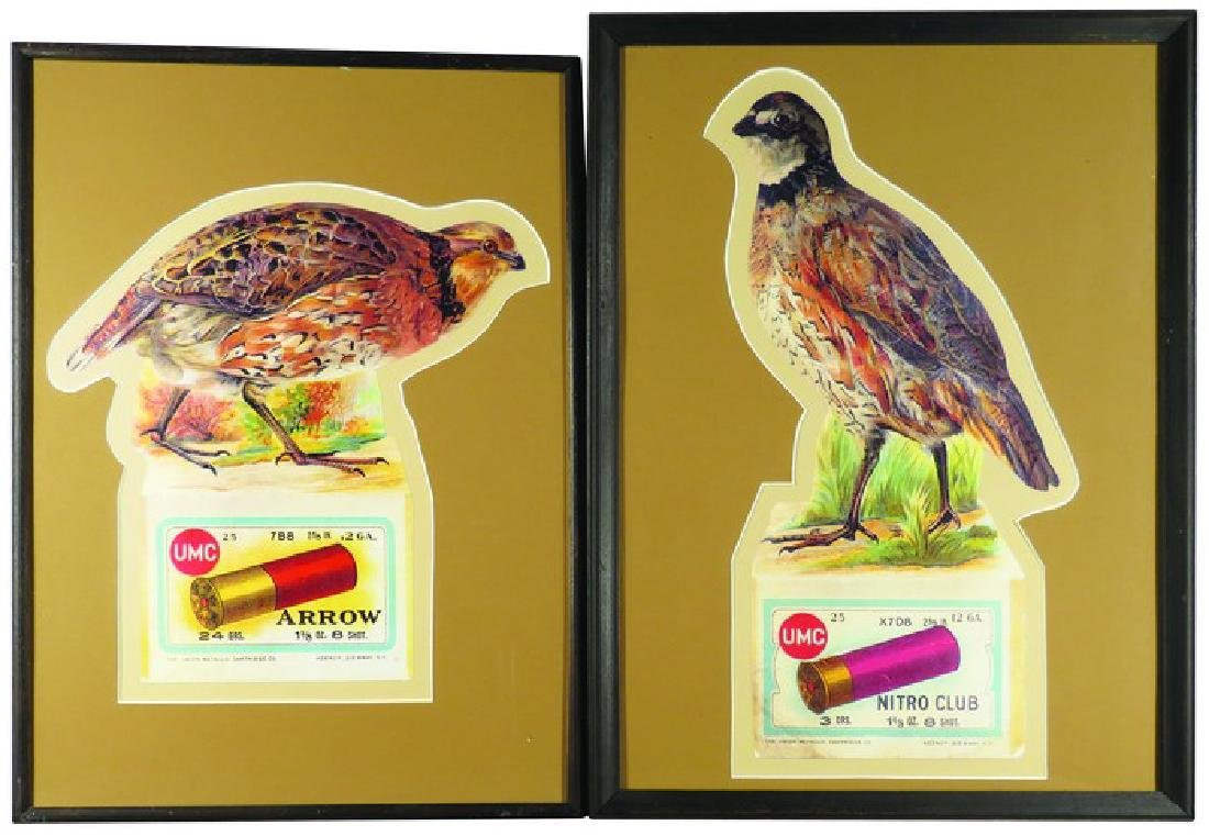 Two Union Metallic Cartridge Die Cut Paper Signs