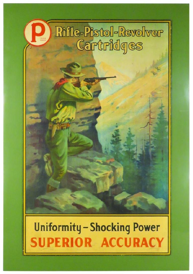 Peters Cartridge Company Die Cut Cardboard Sign