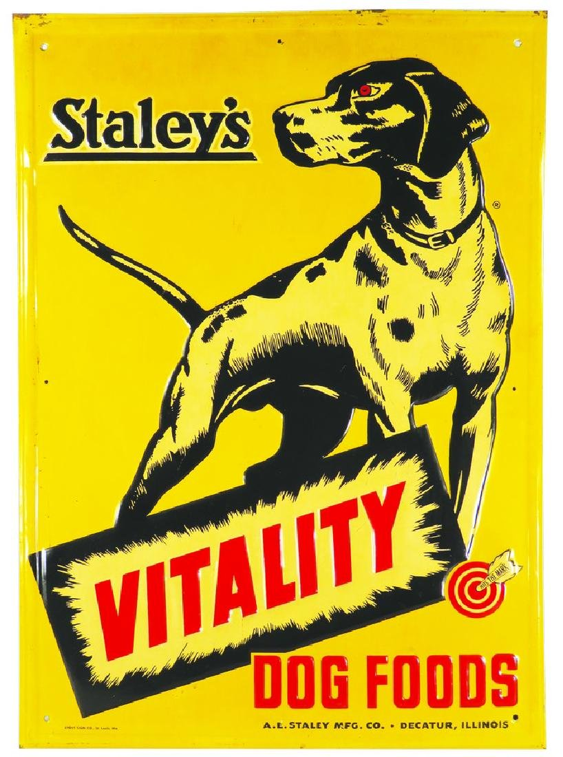 Staley's Vitality Dog Food Embossed Tin Sign