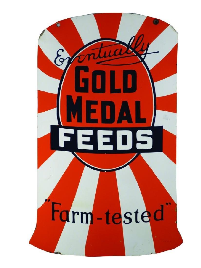Gold Medal Feeds Porcelain Sign