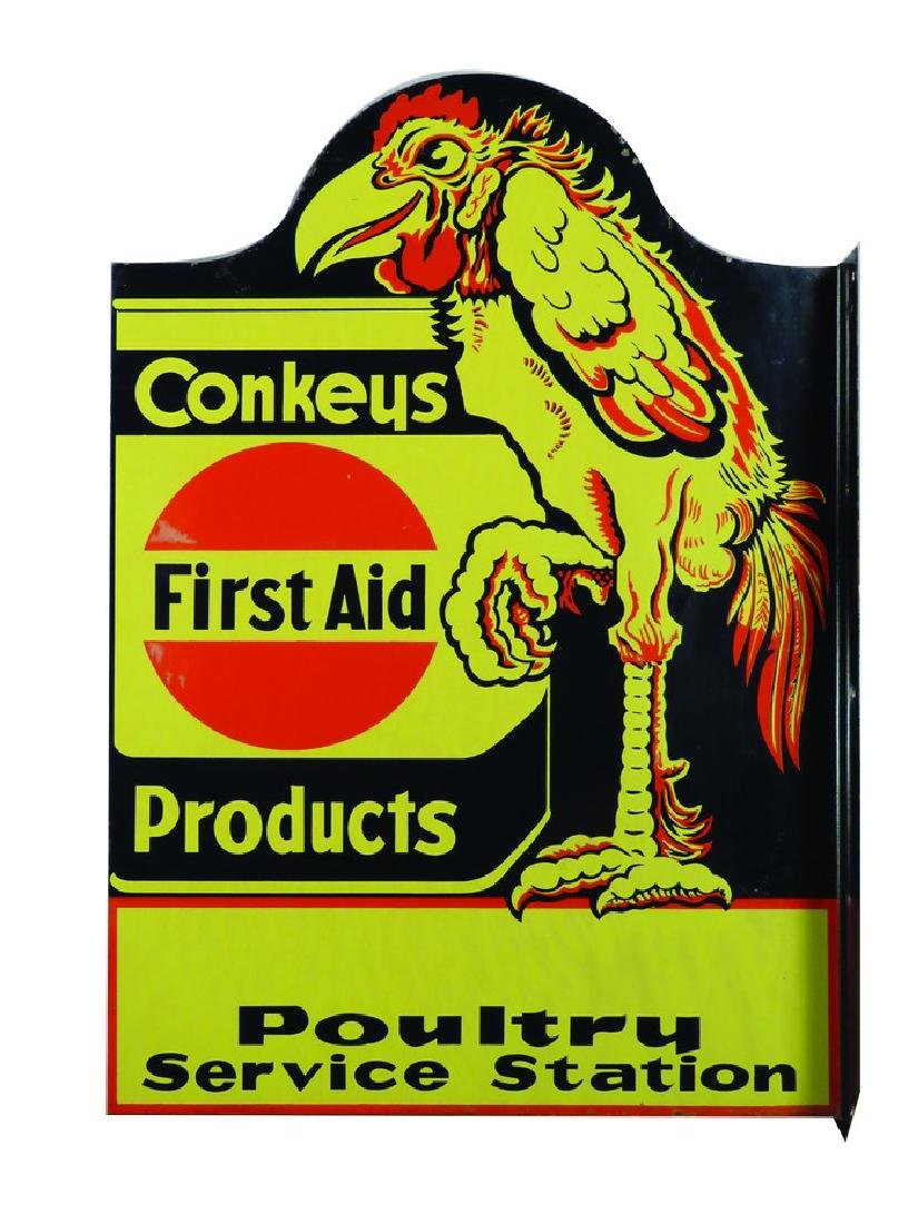 Conkeys First Aid Products Porcelain Flange Sign