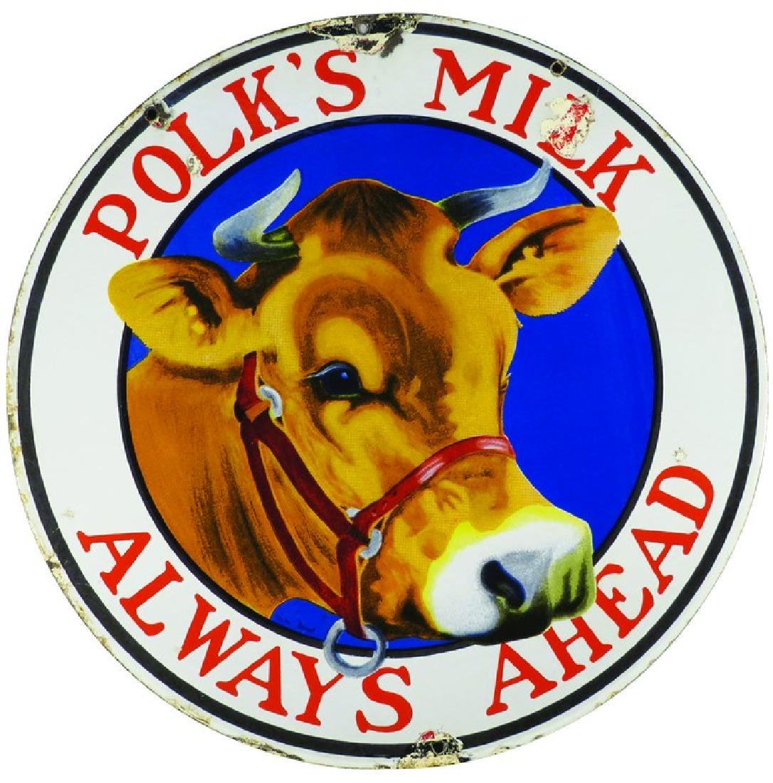 Polks Milk Porcelain Sign
