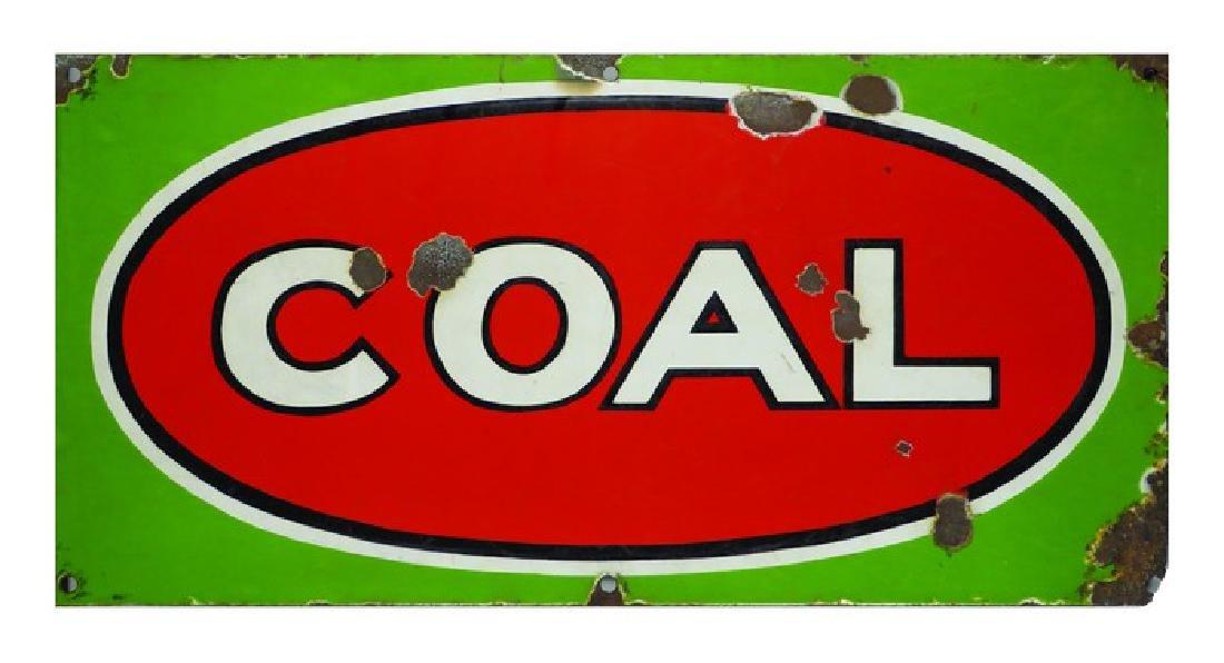 Porcelain Coal Sign