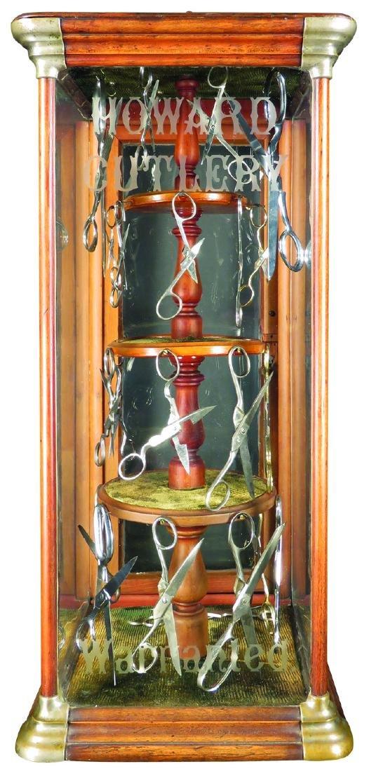 Mahogany Howard Cutlery Scissors Display Case