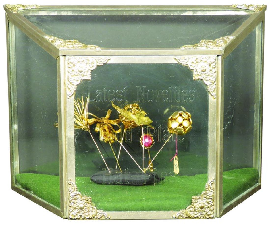 Gold Plate Hat Pins Novelties Display Case