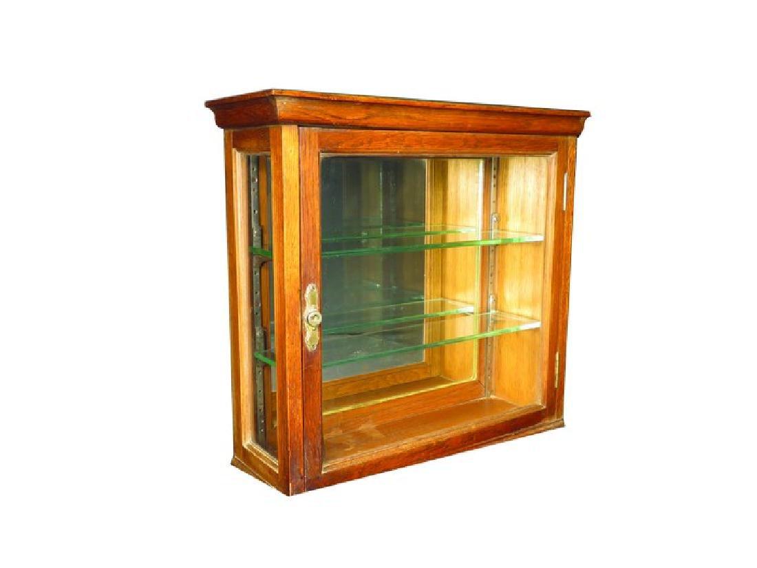 Two Oak Barbershop Oak Wall Cabinets