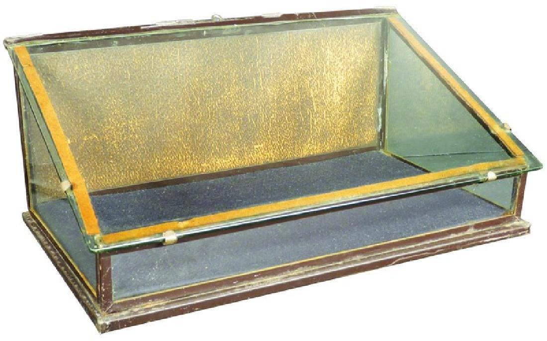 Tin and Glass Slant Front Counter Top Store Case