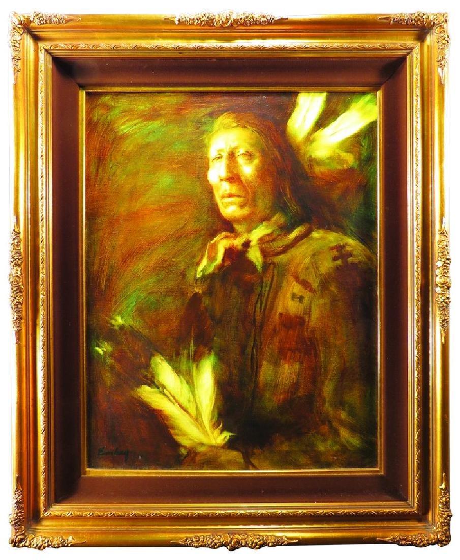 Original Oil Portrait of Sioux Indian