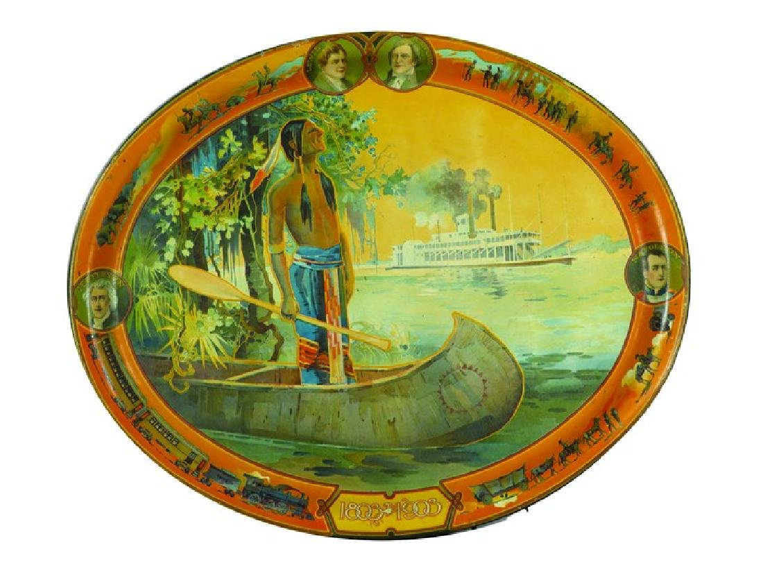 Louis and Clark and Native Brave Tin Serving Tray