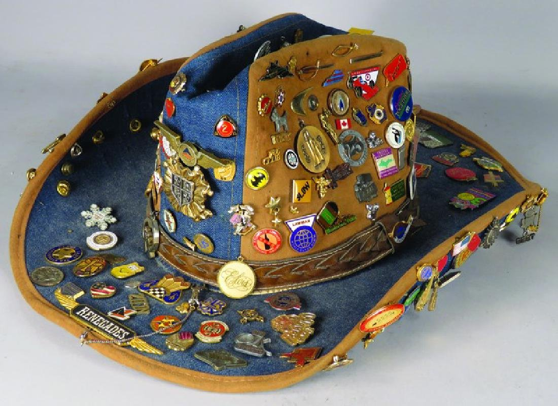 Men's Cowboy Hat Loaded with Hat Pins