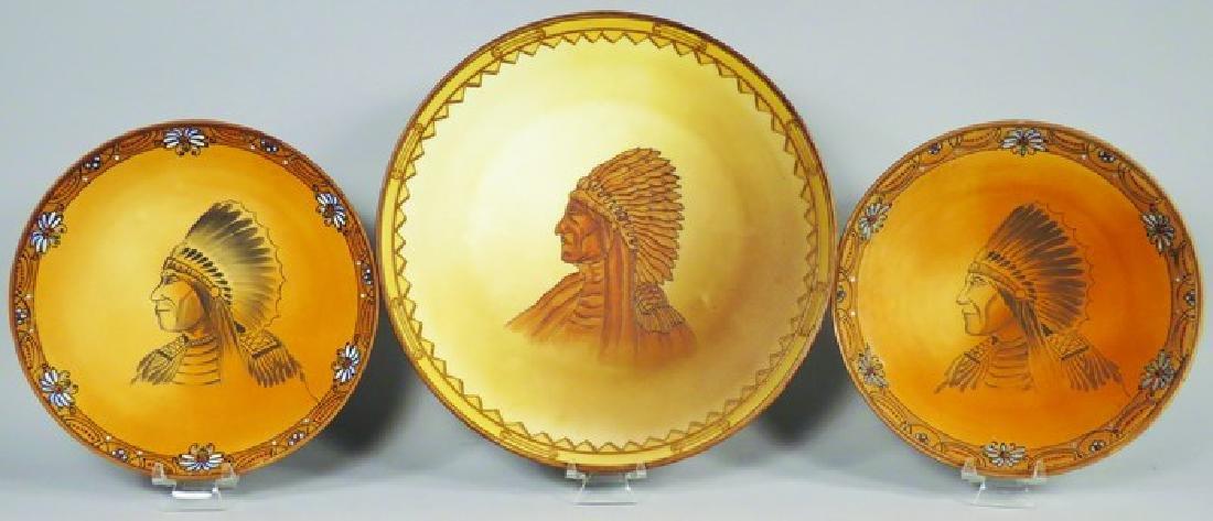 Three Nippon Porcelain Plates