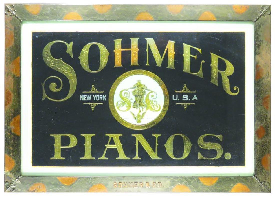 Sohmer Pianos Reverse Glass Sign