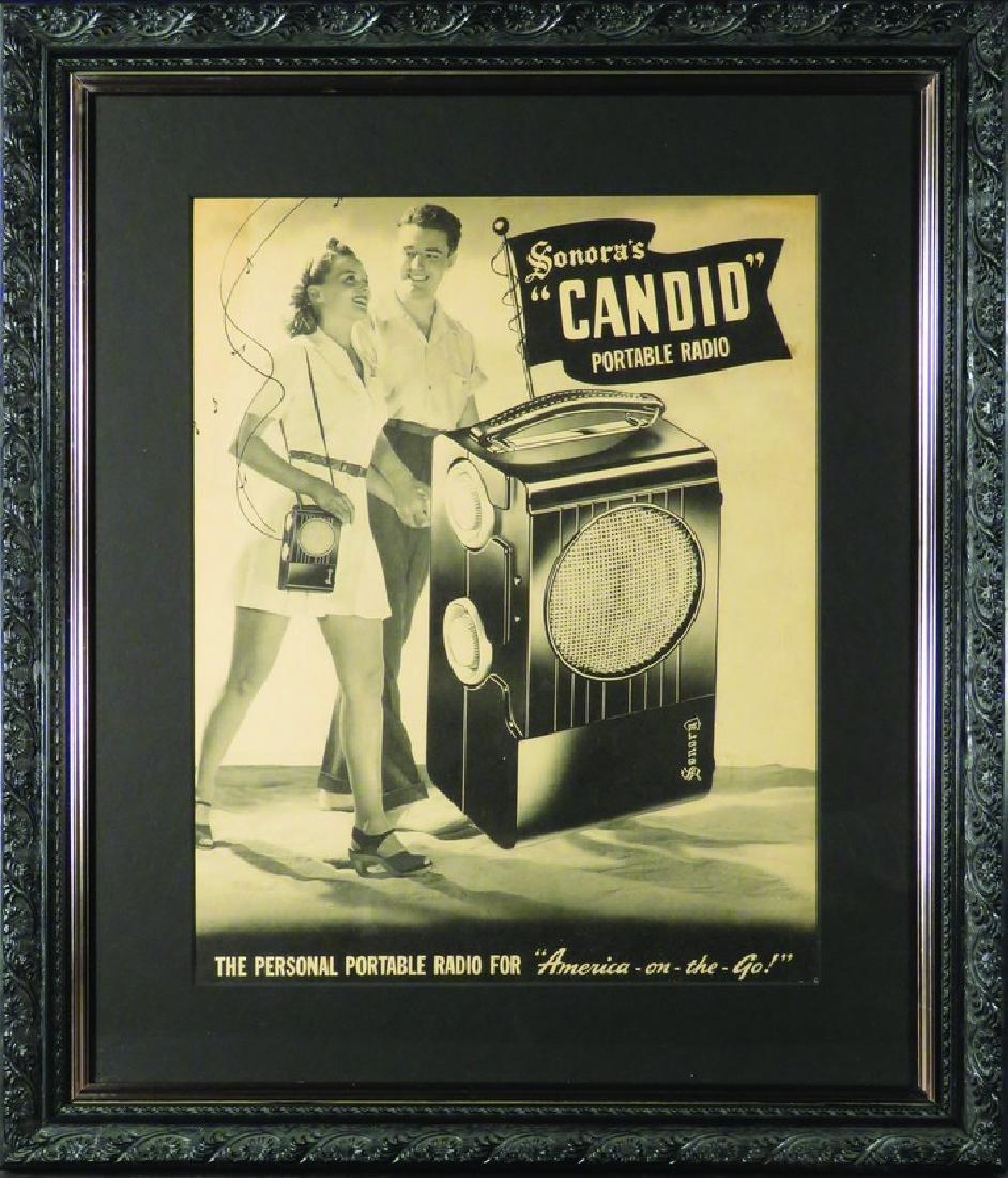 Sonora's Candid Portable Radio Cardboard Sign