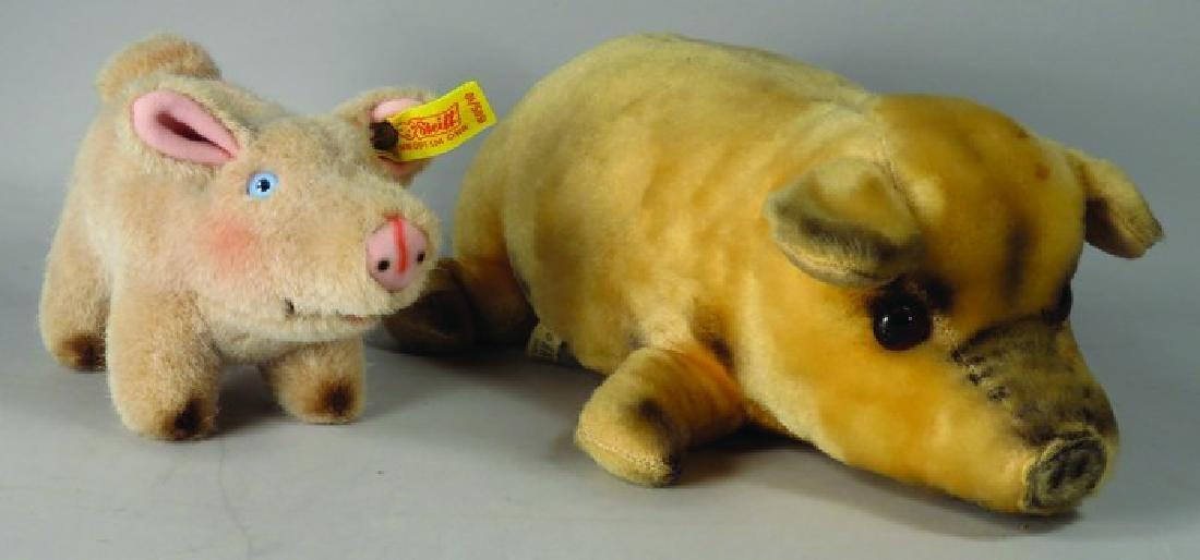 Two Vintage Stuffed Pig Animals