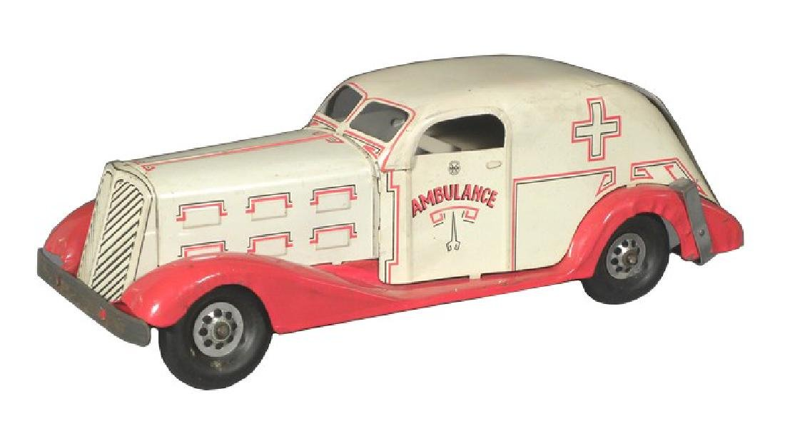Rare 1940's Louis Marx Tin White Ambulance