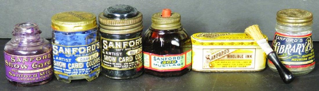 Collection of 6 Sanford's Inks Tin and Bottles