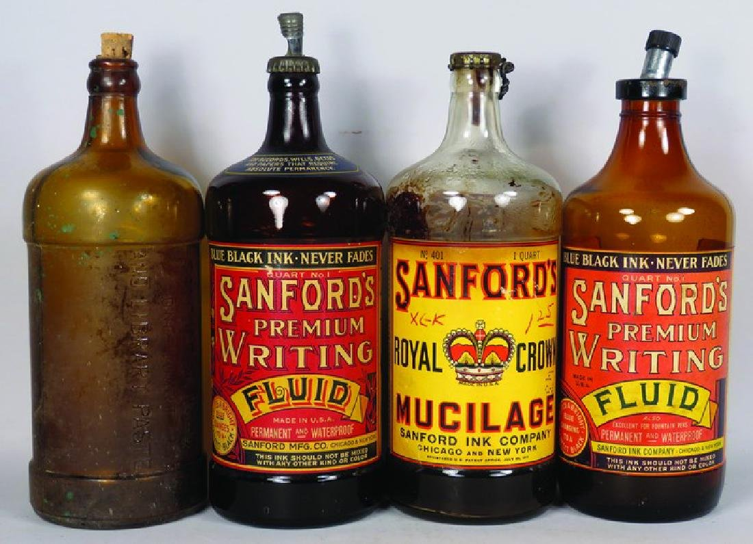 Collection of 4 Sanford's Inks Glass Ink Bottles
