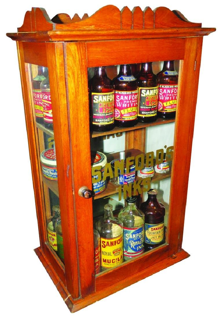 Sanford's inks Glass and Wood Display Case
