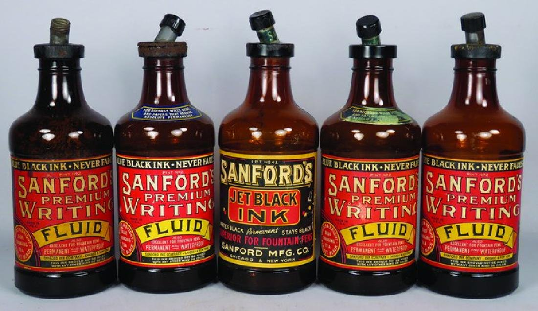 Collection of 5 Sanford's Inks Glass Ink Bottles