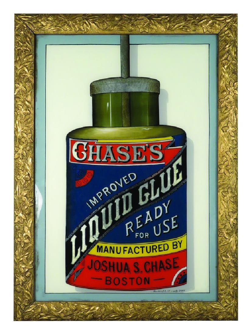 Chase's Glue Reverse Glass Sign