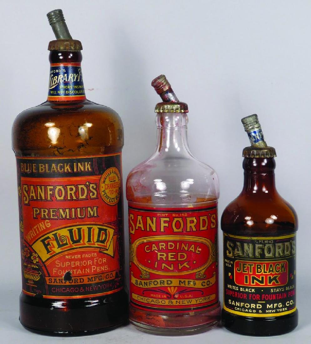 Collection of 3 Sanford's Inks Glass Ink Bottles