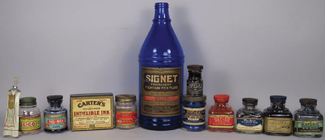 Collection of 10 Vintage Ink Bottles and Containers