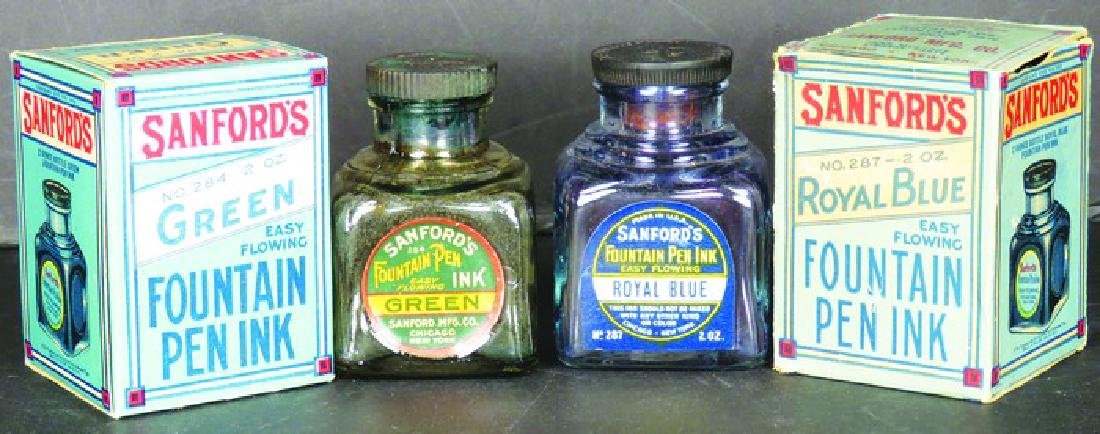 Two Sanford's Inks Fountain Pen Ink Bottles